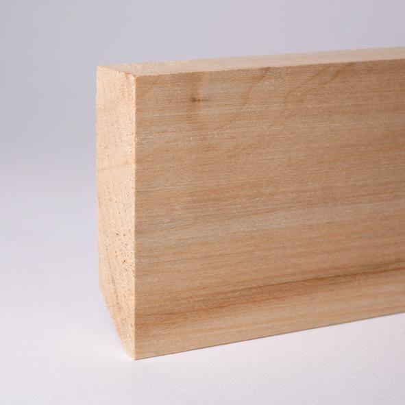 Vierkant Massivholz-Sockelleiste 80mm - Ahorn roh