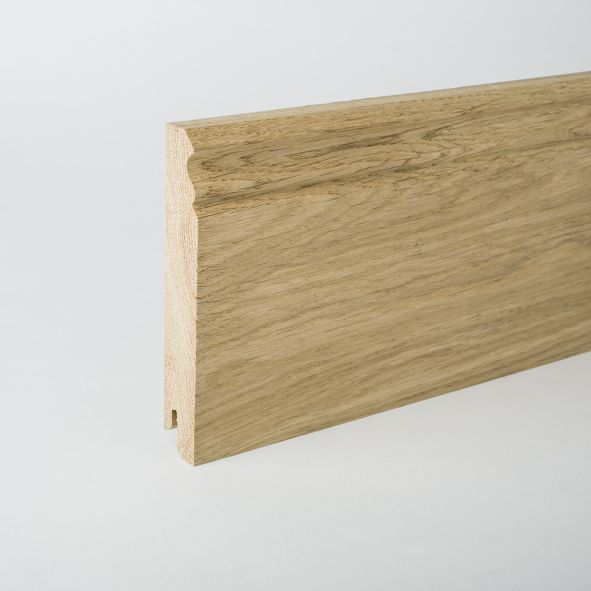 solid wood skirting 100mm with Berlin profile untreated oak