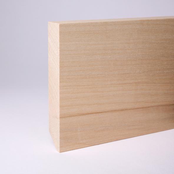 Vierkant Massivholz-Sockelleiste 120mm - Ahorn roh