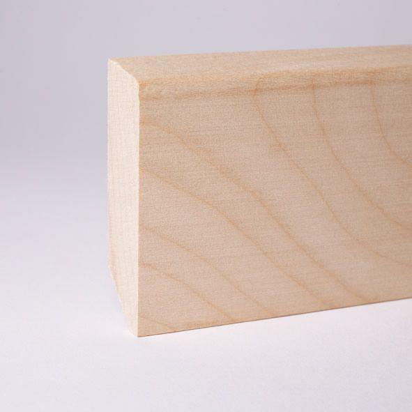 Massivholz-Sockelleiste 40mm abgeschrägt - Ahorn roh
