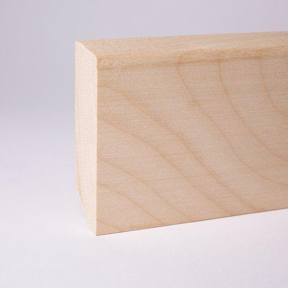 Massivholz-Sockelleiste 60mm abgeschrägt - Ahorn roh