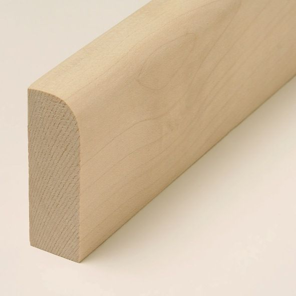 solid wood skirting 60mm with rounded front edge untreated maple