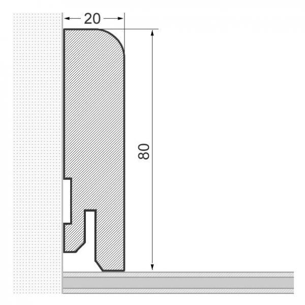 Massivholz-Sockelleiste abgerundet 80mm - Ahorn gelackt