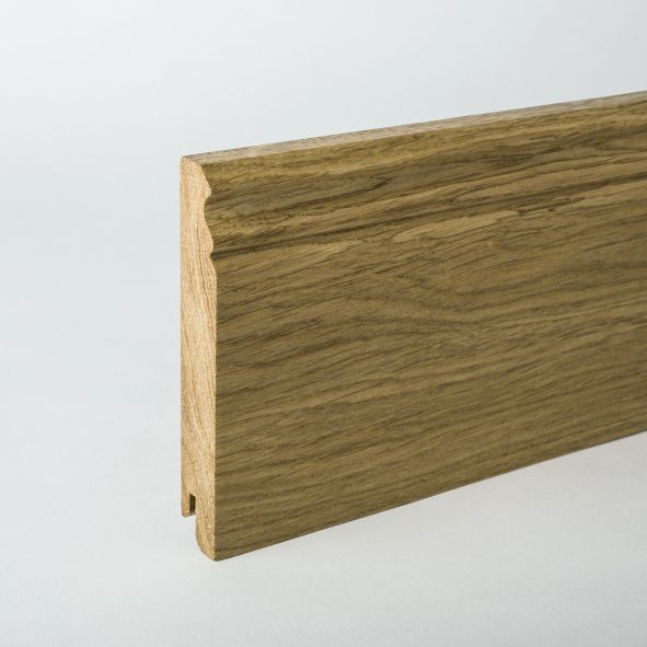 solid wood skirting 210mm with Berlin profile varnished oak