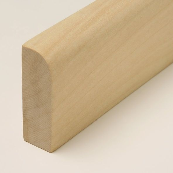Massivholz Sockelleiste 60mm abgerundet - Ahorn gelackt