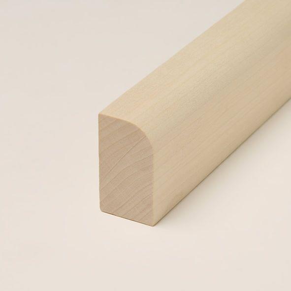 Massivholz-Sockelleiste 40mm abgerundet - Ahorn roh