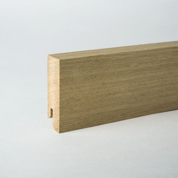 solid wood skirting 60mm with quadrangular untreated oak